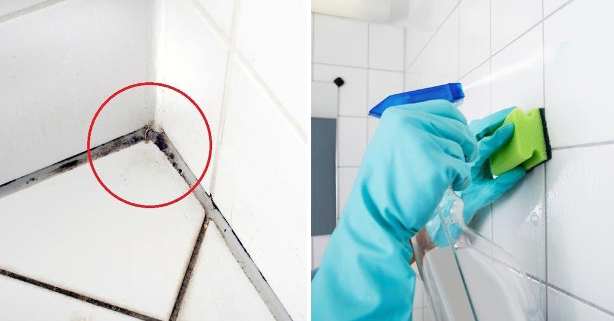 Une astuce naturelle pour nettoyer le savon et le tartre coincés dans les carreaux de la salle de bain
